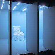 A chair against a blue backdrop