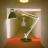 A lamp enlarged in a corridor setting
