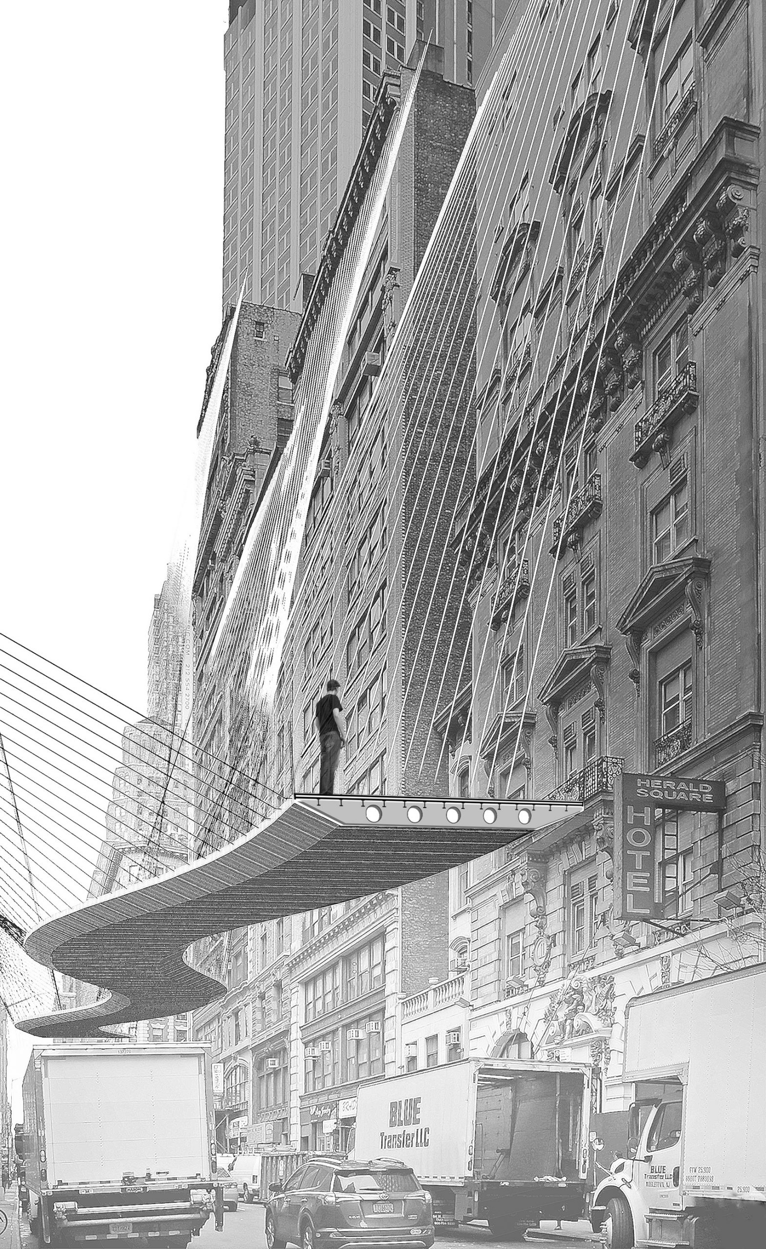 A black and white architectural perspective drawing