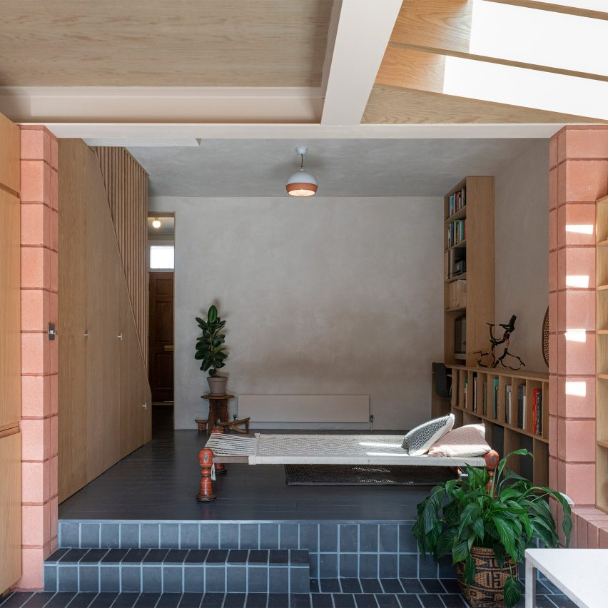 The pastel-hued interiors of a house extension
