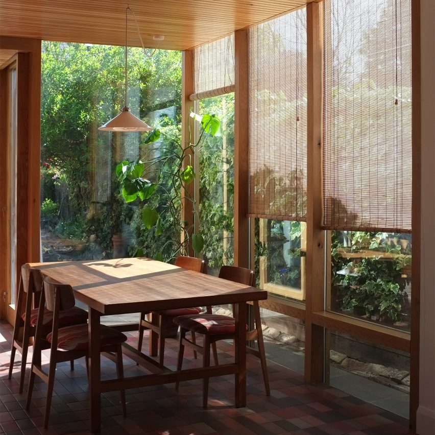 A wood-lined dining room in a London house