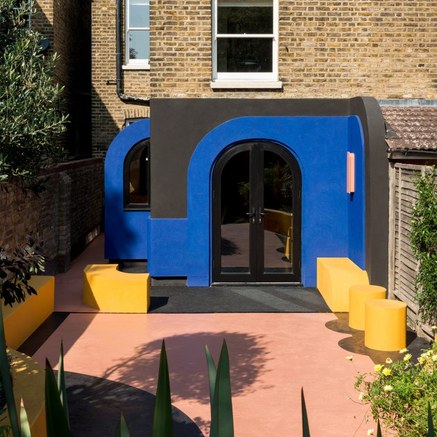 A colourful house renovation in London with arched openings