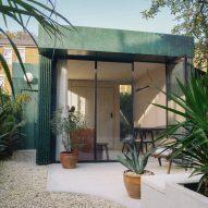Garden studio upholstered in green terrazzo