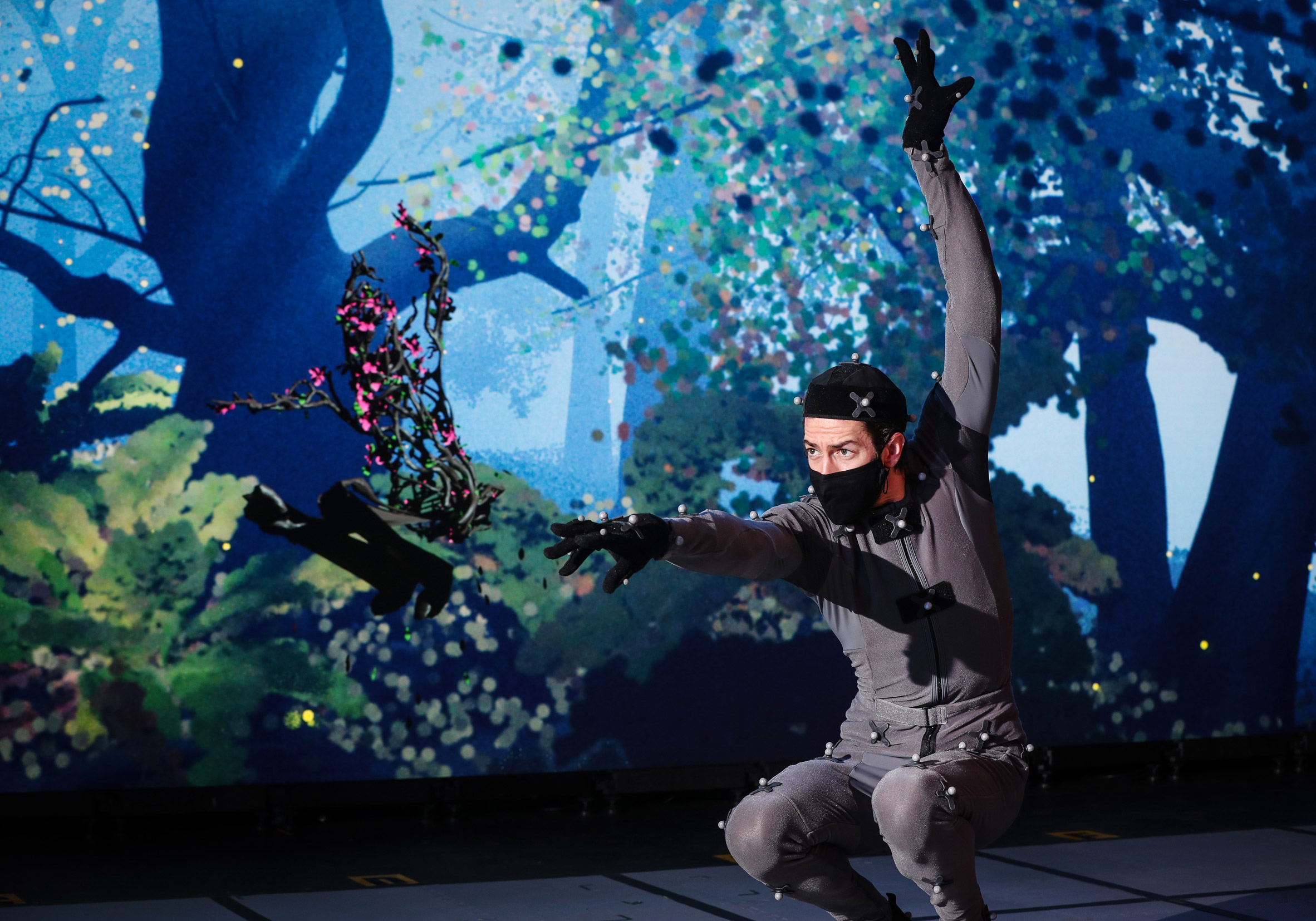 Performer in motion capture suit rehearsing for virtual Dream play by the Royal Shakespeare Company