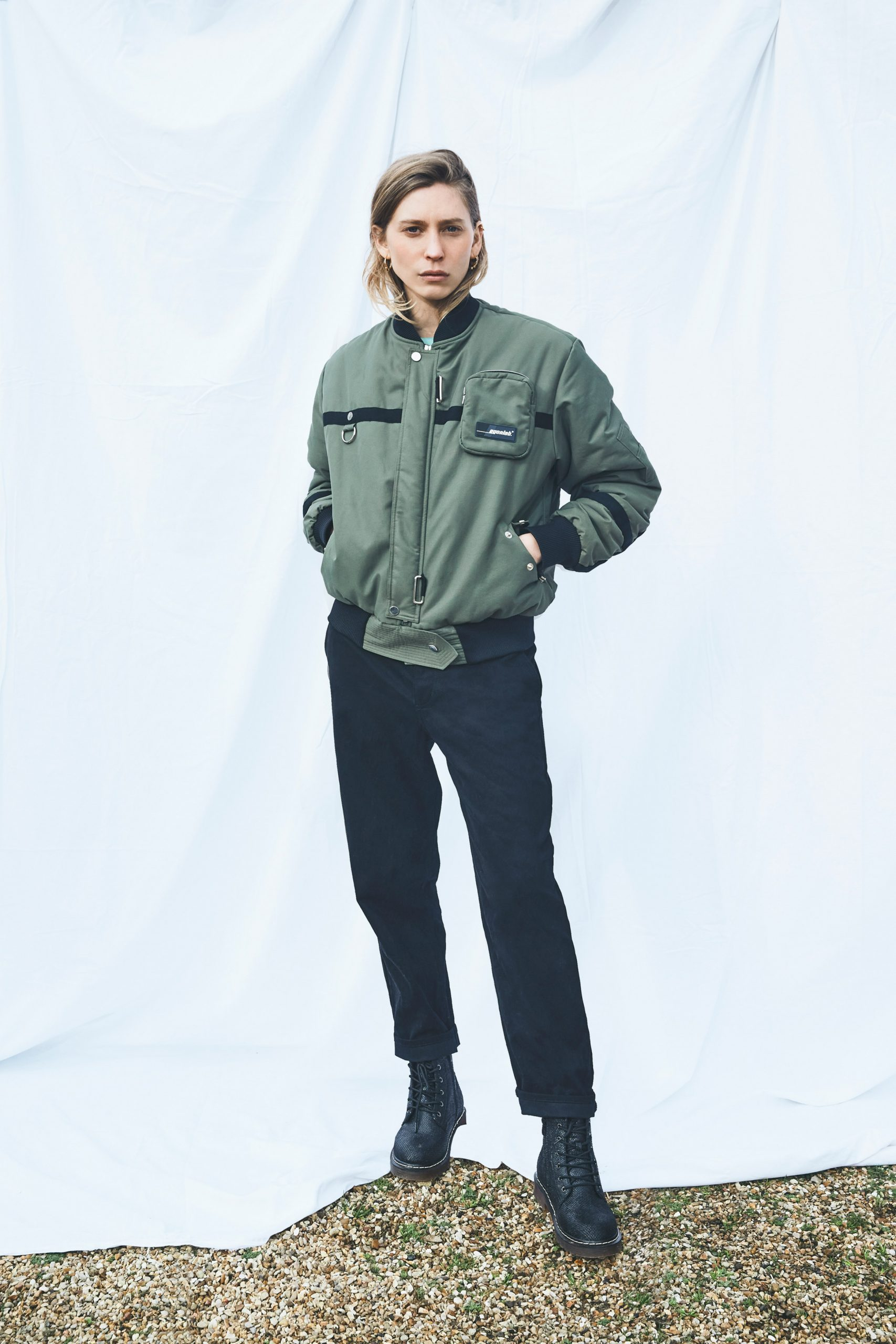 Green bomber jacket by EgonLab and Post Carbon Lab