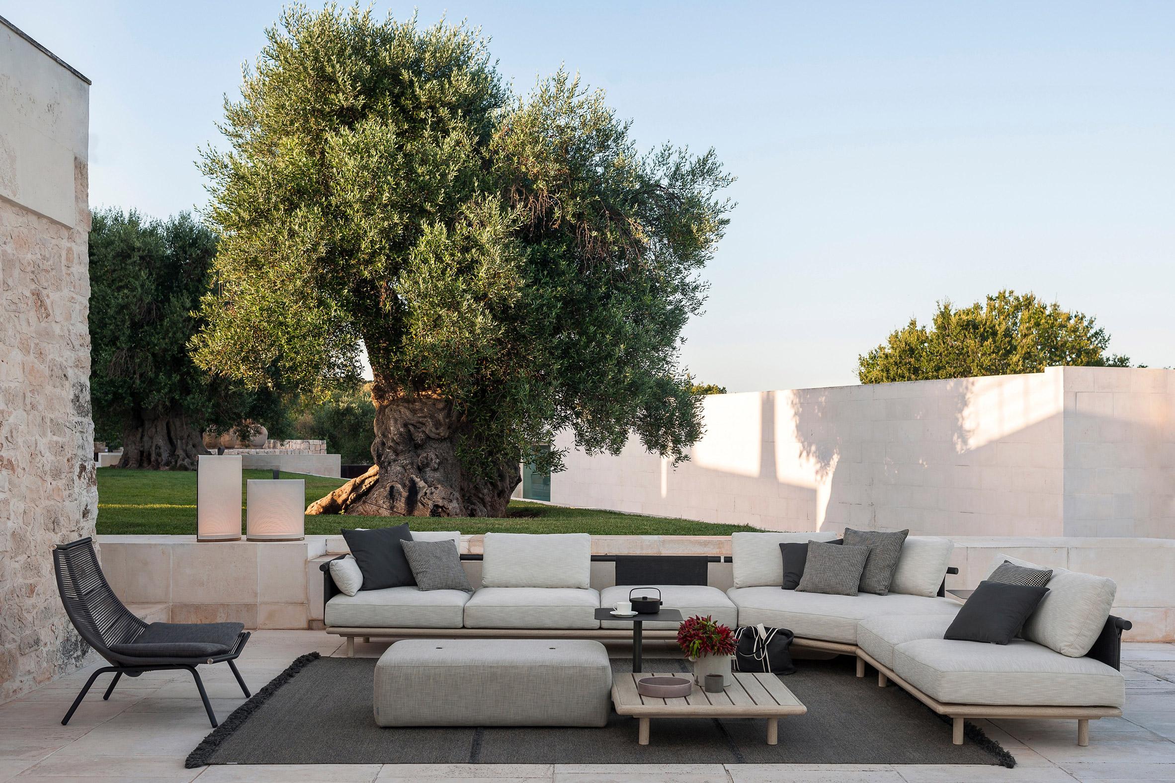 Eden sofa by RODA with teak base