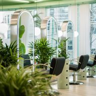 Plants are placed around the salon