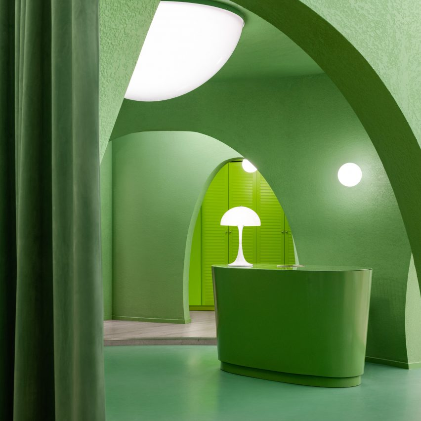 Avocado green interiors for Ego hair salon