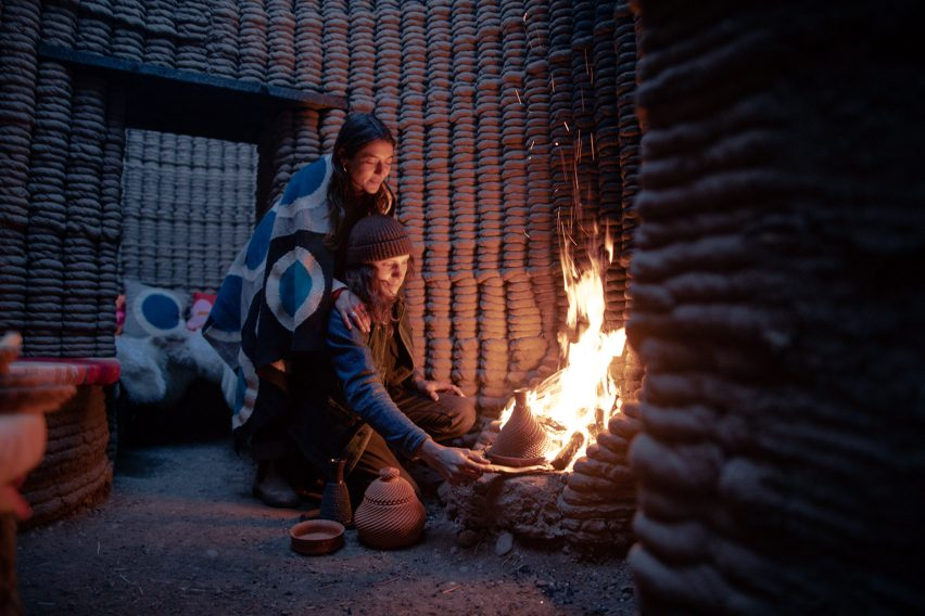Fireplace of 3D-printed hut in the desert
