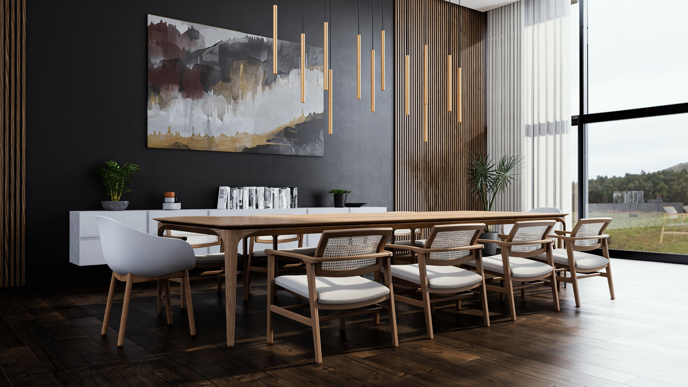 A 3D render of a residential dining room