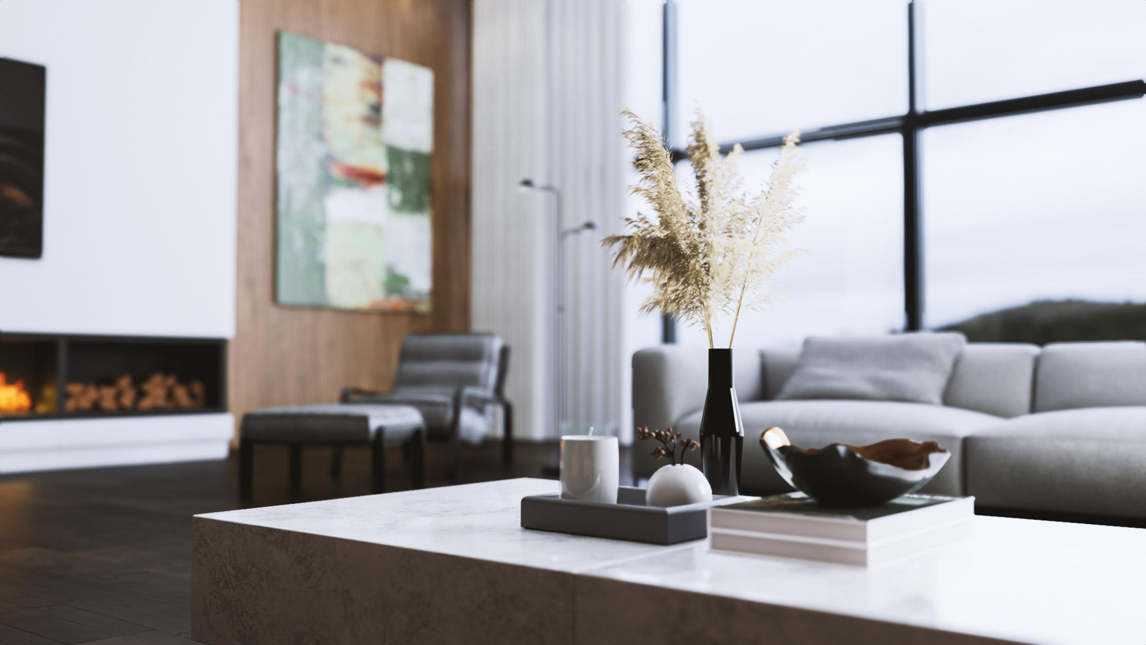 A 3D render of a living room interior