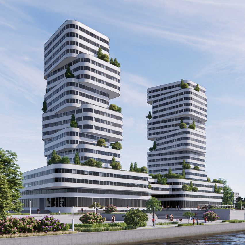 An architectural visualisation of a pair of towers