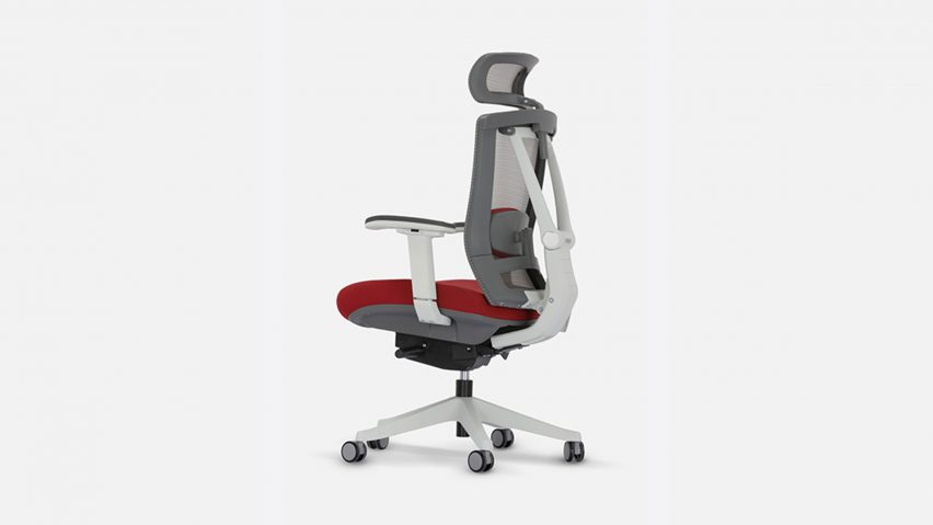 Ergonomic chair with red seat