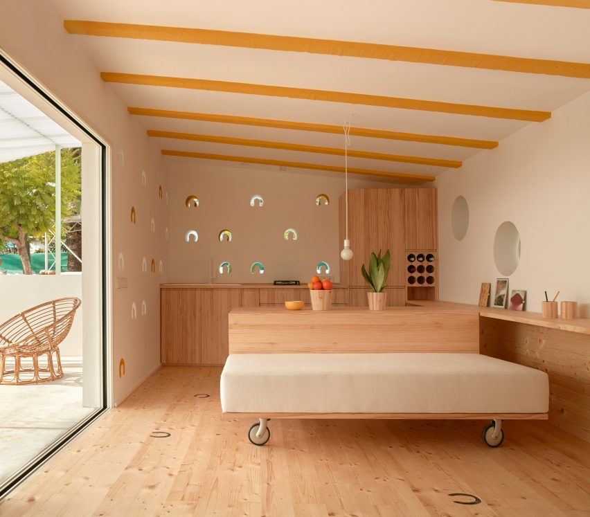 Kitchen and living area in stable conversion