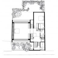 First floor plan of Eucalyptus House by Paritzki & Liani Architects