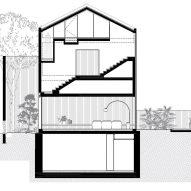 Long section of Eucalyptus House by Paritzki & Liani Architects