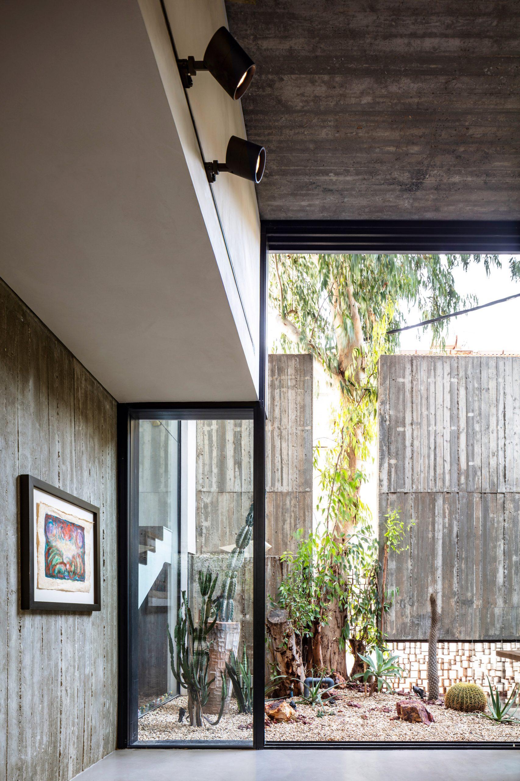 Zen garden at Eucalyptus House by Paritzki & Liani Architects