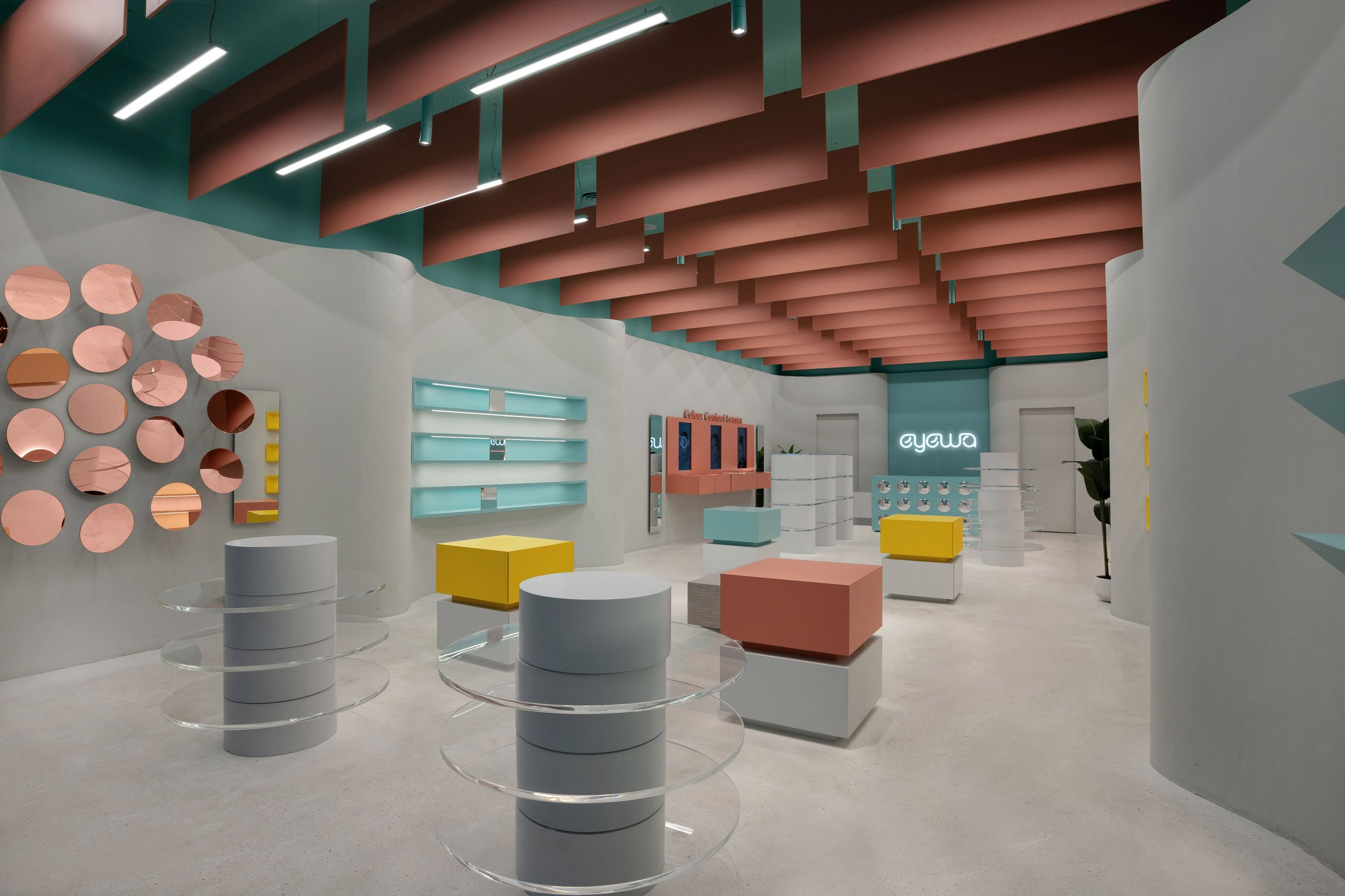 Cuboid and cylindrical display plinths in store design by Pierre Brocas and Nada Oudghiri