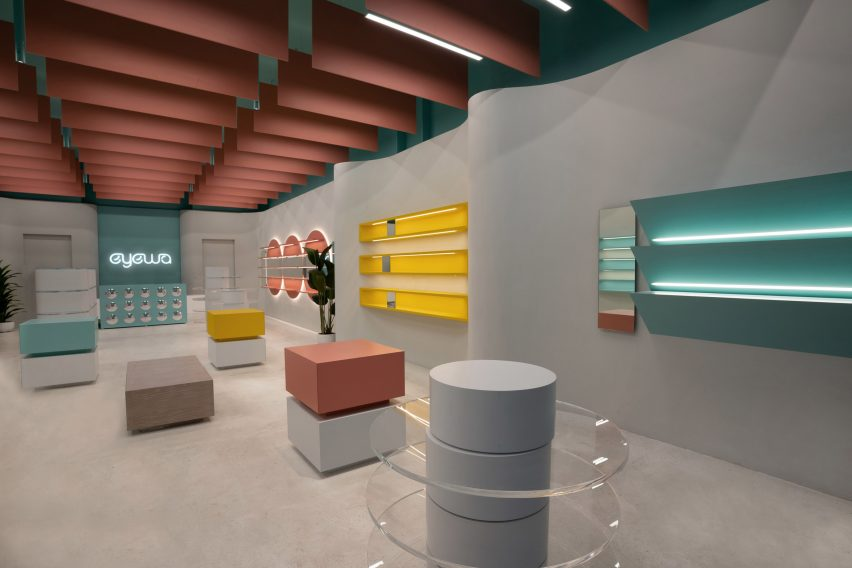 Overview of Eyewa store interior by Pierre Brocas and Nada Oudghiri