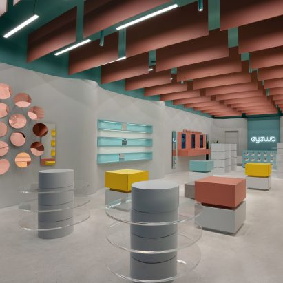 Interior of Eyewa store in Dhahran, Saudi Arabia by Pierre Brocas and Nada Oudghiri