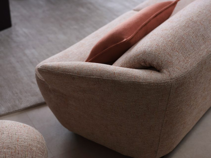 Folded backrest on the Fleur sofa by King Living