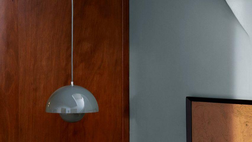 A Flowerpot pendant light in Stone Blue by Verner Panton