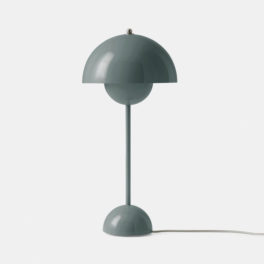 A Flowerpot table lamp in Stone Blue by Verner Panton for &tradition