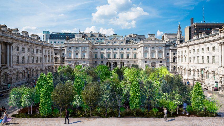 Render of Es Devlin's Forest for Change installation at Somerset House for London Design Biennale 2021