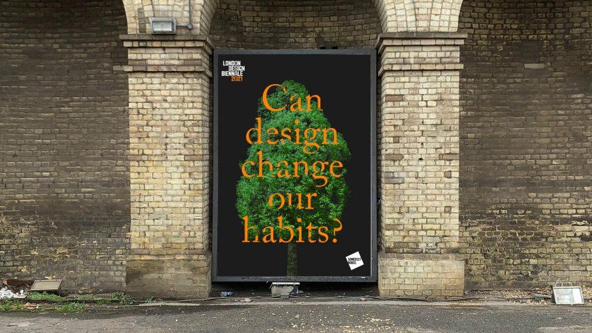 Pentagram identity for London Design Biennale 2021 based on Es Devlin's Forest for Change installation