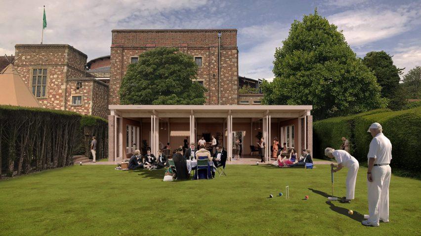 A single-storey pavilion on a croquet lawn