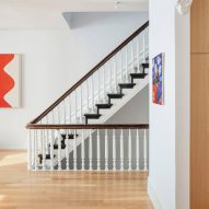 A staircase in the Brooklyn townhouse