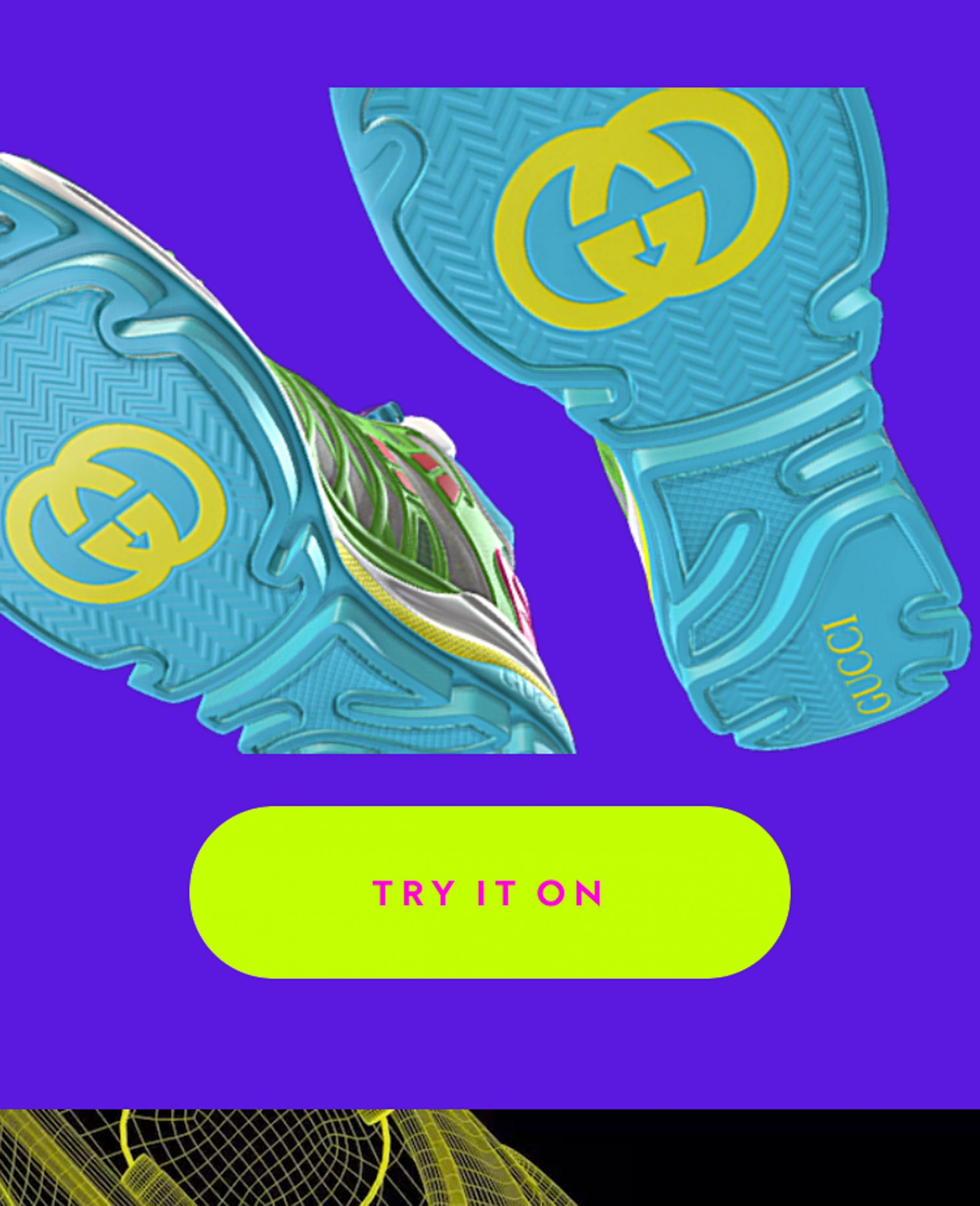 Digital-only trainer with blue sole and Gucci logo
