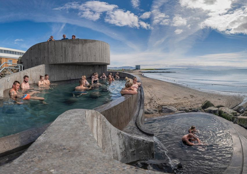 Bathing pools at Guðlaug Baths by Basalt Architects