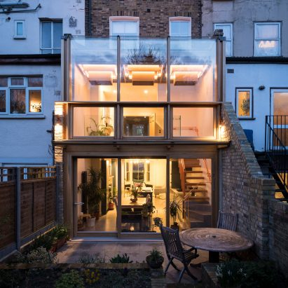 Night view of Haringey Glazed Extension by Satish Jassal Architects