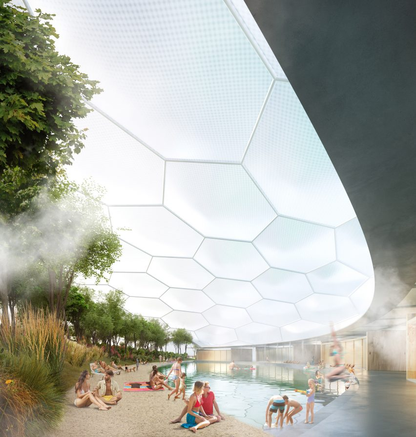 A visual of a floating public space by Carlo Ratti