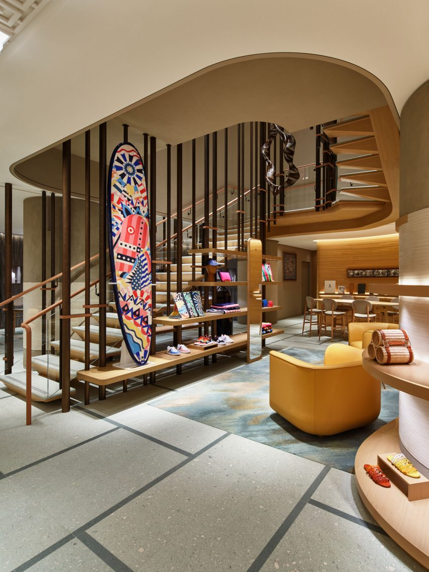 A dramatic staircase in a Hermès shop
