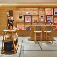 A shop with wood-lined walls