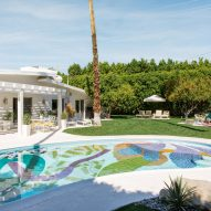 Alex Proba's graphic painted shapes at the Hill House pool