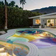 The colourful Hill House pool by Alex Proba by night