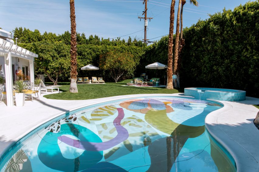 The Hill House pool blends with its setting