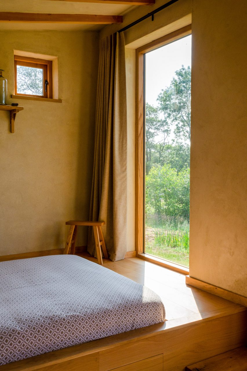 The sleeping area of Holly Water holiday cabin in Devon