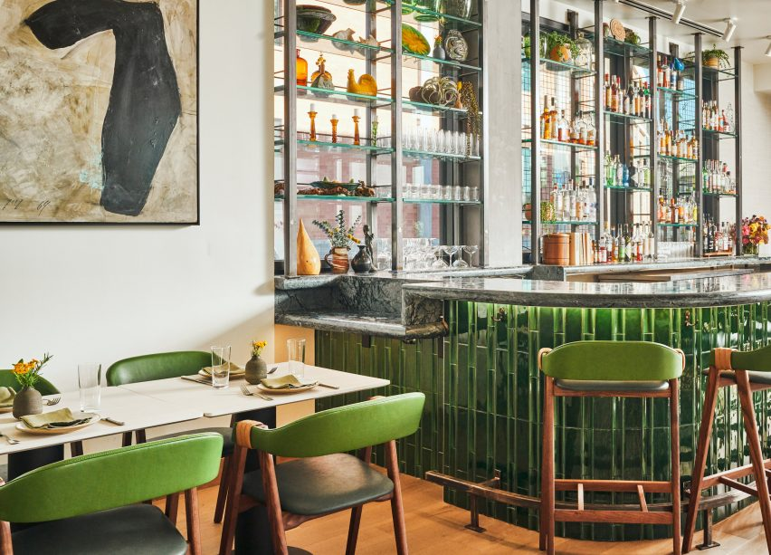 Hotel Magdalena's restaurant bar is clad in green tiles