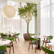 Green seating in the restaurant