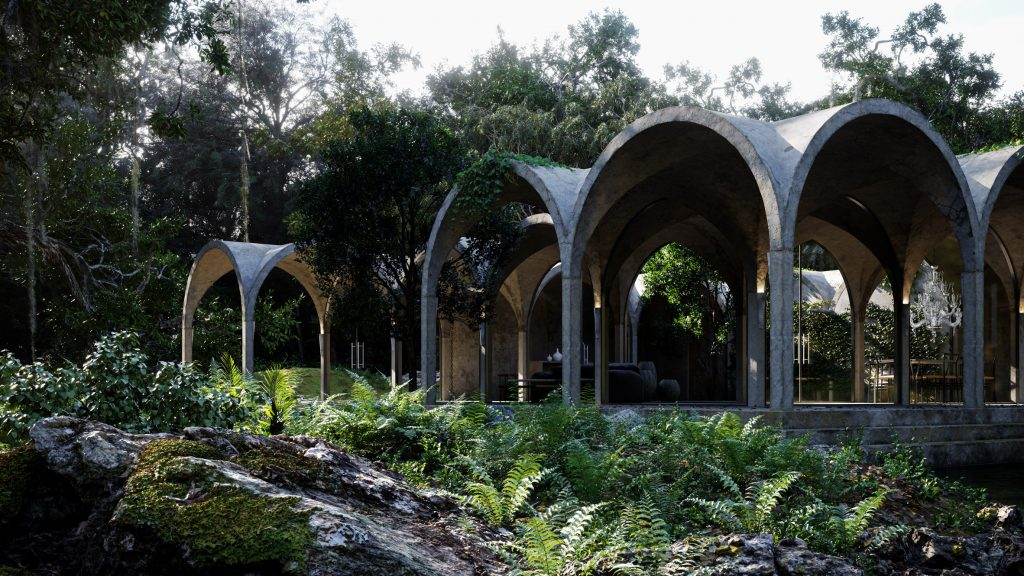 Marc Thorpe designs virtual house with vaulted concrete arches