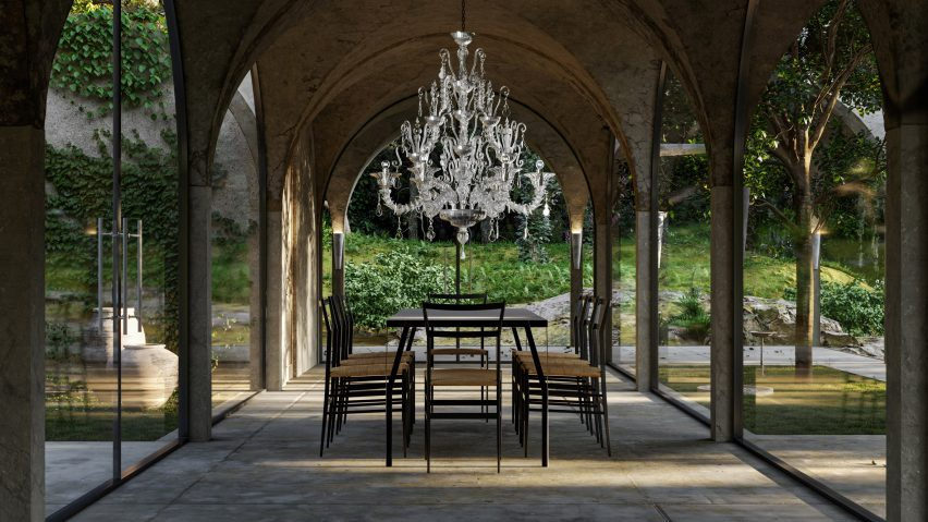 A chandelier-lit dining room designed by Marc Thorpe