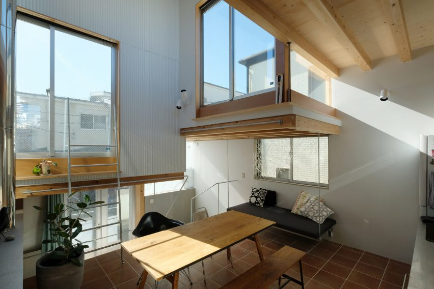 Interior of stacked-box house in Tokyo