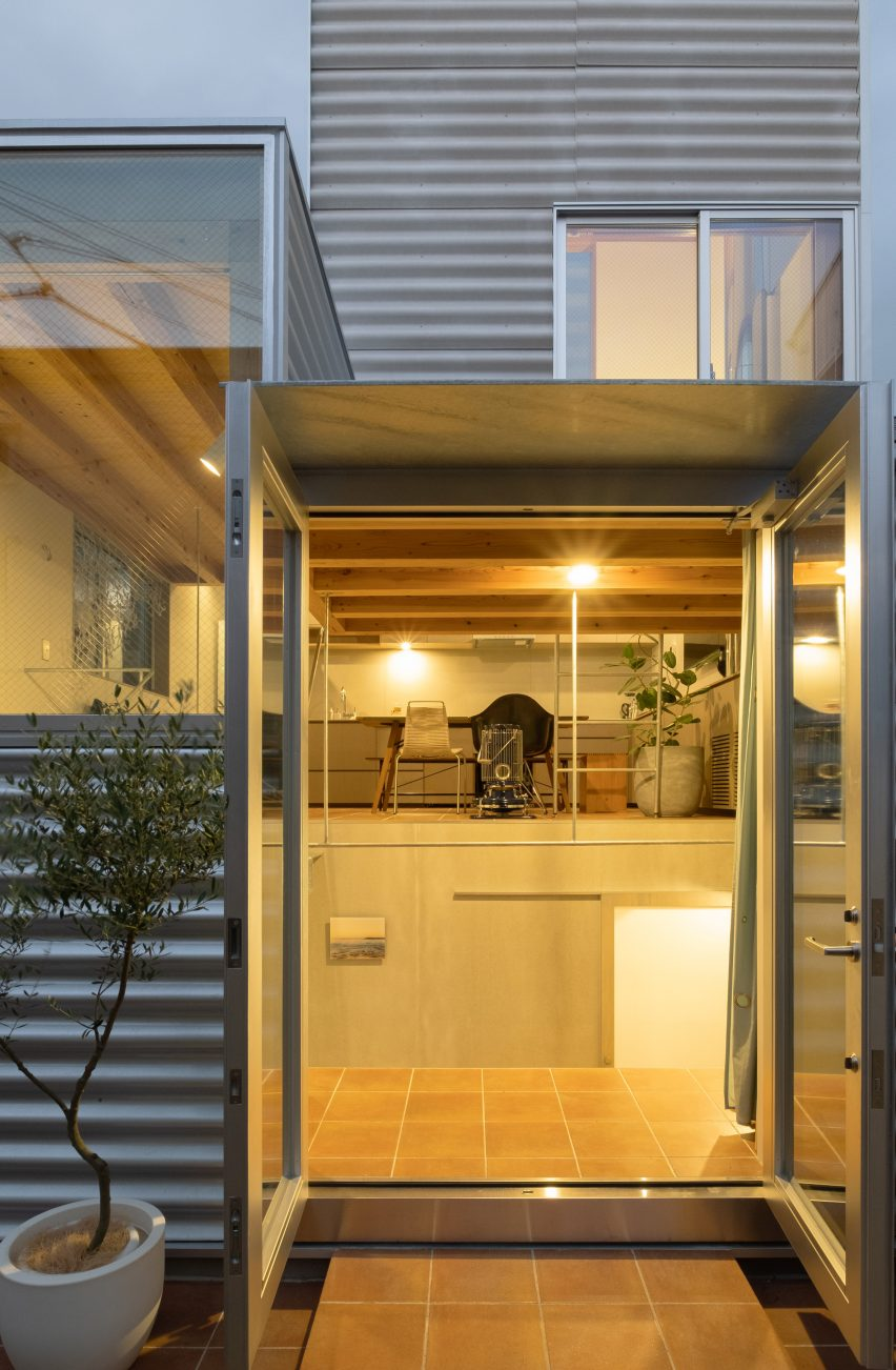 Lit-up windows of small Tokyo house