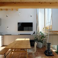 Dining area with wooden floor