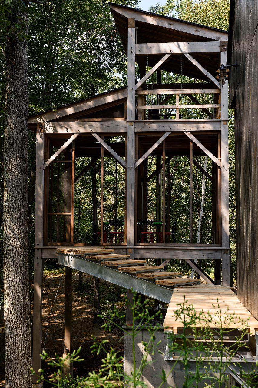 Three-storey sauna tower in America
