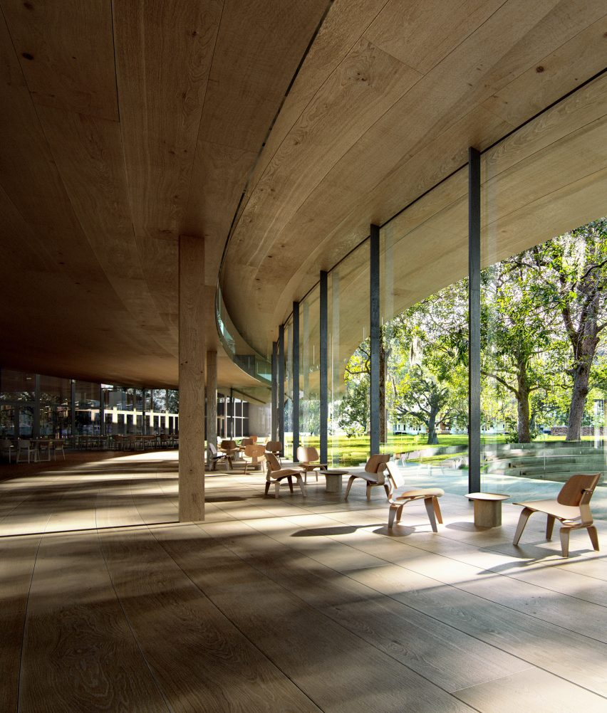 The timber interiors of a Norwegian library by Kengo Kuma